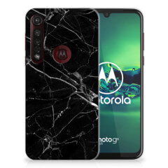 Motorola Moto G8 Plus TPU Siliconen Hoesje Marmer Zwart - Origineel Cadeau Vader