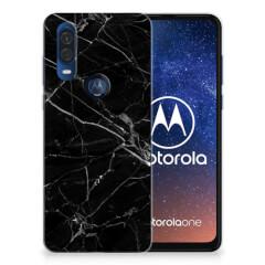 Motorola One Vision TPU Siliconen Hoesje Marmer Zwart - Origineel Cadeau Vader