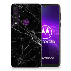 Motorola One Macro TPU Siliconen Hoesje Marmer Zwart - Origineel Cadeau Vader