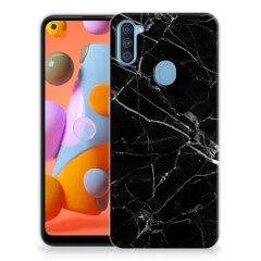 Samsung Galaxy A11 | M11 TPU Siliconen Hoesje Marmer Zwart - Origineel Cadeau Vader