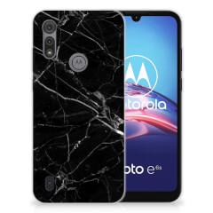 Motorola Moto E6s TPU Siliconen Hoesje Marmer Zwart - Origineel Cadeau Vader