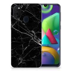 Samsung Galaxy M21 TPU Siliconen Hoesje Marmer Zwart - Origineel Cadeau Vader