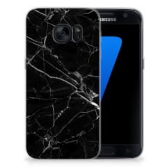 Samsung Galaxy S7 TPU Siliconen Hoesje Marmer Zwart - Origineel Cadeau Vader