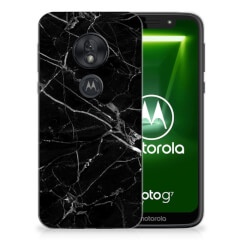 Motorola Moto G7 Play TPU Siliconen Hoesje Marmer Zwart - Origineel Cadeau Vader