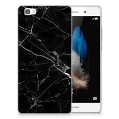 Huawei Ascend P8 Lite TPU Siliconen Hoesje Marmer Zwart - Origineel Cadeau Vader