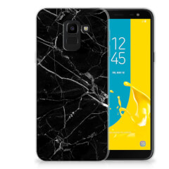 Samsung Galaxy J6 2018 TPU Siliconen Hoesje Marmer Zwart - Origineel Cadeau Vader