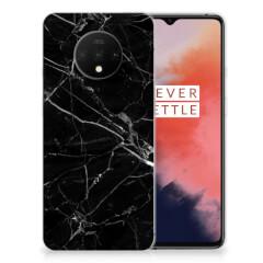 OnePlus 7T TPU Siliconen Hoesje Marmer Zwart - Origineel Cadeau Vader