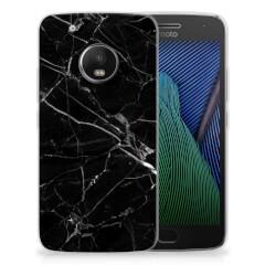 Motorola Moto G5 Plus TPU Siliconen Hoesje Marmer Zwart - Origineel Cadeau Vader