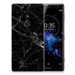 Sony Xperia XZ2 TPU Siliconen Hoesje Marmer Zwart - Origineel Cadeau Vader