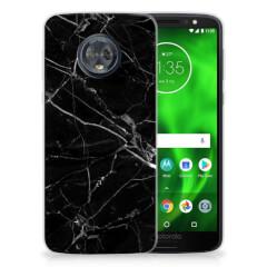 Motorola Moto G6 TPU Siliconen Hoesje Marmer Zwart - Origineel Cadeau Vader