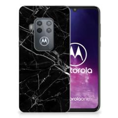 Motorola One Zoom TPU Siliconen Hoesje Marmer Zwart - Origineel Cadeau Vader