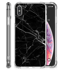 Apple iPhone X | Xs Anti-Shock Hoesje Marmer Zwart - Origineel Cadeau Vader