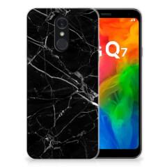 LG Q7 TPU Siliconen Hoesje Marmer Zwart - Origineel Cadeau Vader