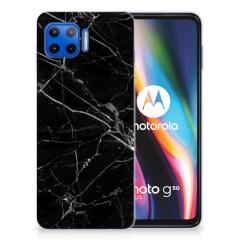 Motorola Moto G 5G Plus TPU Siliconen Hoesje Marmer Zwart - Origineel Cadeau Vader