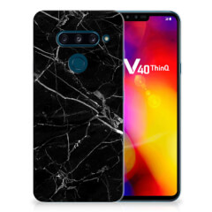 LG V40 Thinq TPU Siliconen Hoesje Marmer Zwart - Origineel Cadeau Vader