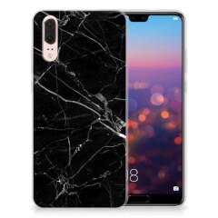Huawei P20 TPU Siliconen Hoesje Marmer Zwart - Origineel Cadeau Vader