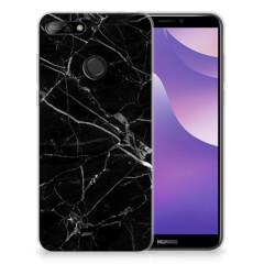 Huawei Y6 (2018) TPU Siliconen Hoesje Marmer Zwart - Origineel Cadeau Vader