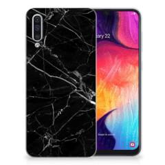 Samsung Galaxy A50 TPU Siliconen Hoesje Marmer Zwart - Origineel Cadeau Vader