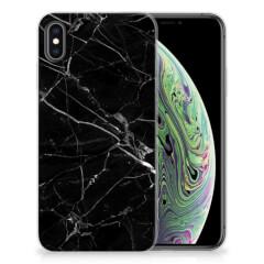 Apple iPhone Xs Max TPU Siliconen Hoesje Marmer Zwart - Origineel Cadeau Vader