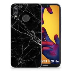 Huawei P20 Lite TPU Siliconen Hoesje Marmer Zwart - Origineel Cadeau Vader