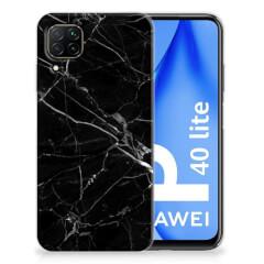 Huawei P40 Lite TPU Siliconen Hoesje Marmer Zwart - Origineel Cadeau Vader
