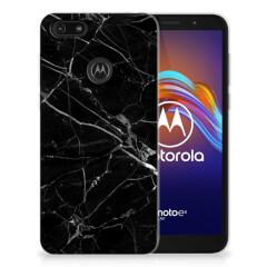 Motorola Moto E6 Play TPU Siliconen Hoesje Marmer Zwart - Origineel Cadeau Vader