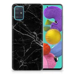 Samsung Galaxy A51 TPU Siliconen Hoesje Marmer Zwart - Origineel Cadeau Vader