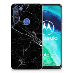 Motorola Moto G8 TPU Siliconen Hoesje Marmer Zwart - Origineel Cadeau Vader