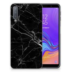 Samsung Galaxy A7 (2018) TPU Siliconen Hoesje Marmer Zwart - Origineel Cadeau Vader