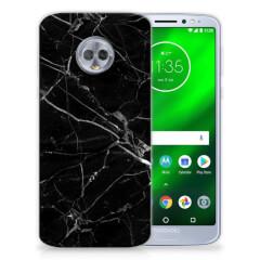 Motorola Moto G6 Plus TPU Siliconen Hoesje Marmer Zwart - Origineel Cadeau Vader