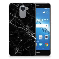 Huawei Y7 (2017)   Y7 Prime (2017) TPU Siliconen Hoesje Marmer Zwart - Origineel Cadeau Vader