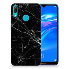 Huawei Y7 2019 TPU Siliconen Hoesje Marmer Zwart - Origineel Cadeau Vader