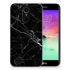 LG K10 2017 TPU Siliconen Hoesje Marmer Zwart - Origineel Cadeau Vader