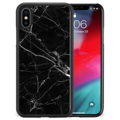 Apple iPhone Xs | X/10 Gripcase Marmer Zwart - Origineel Cadeau Vader