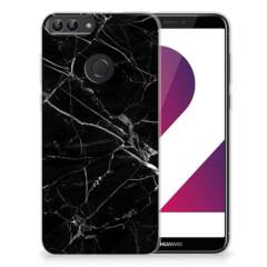 Huawei P Smart TPU Siliconen Hoesje Marmer Zwart - Origineel Cadeau Vader
