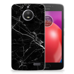 Motorola Moto E4 TPU Siliconen Hoesje Marmer Zwart - Origineel Cadeau Vader