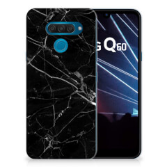 LG Q60 TPU Siliconen Hoesje Marmer Zwart - Origineel Cadeau Vader