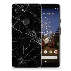 Google Pixel 3A TPU Siliconen Hoesje Marmer Zwart - Origineel Cadeau Vader
