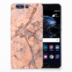Huawei P10 Plus TPU Siliconen Hoesje Marmer Oranje