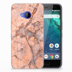 HTC U11 Life TPU Siliconen Hoesje Marmer Oranje