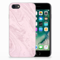 iPhone SE (2020) | 7/8 TPU Siliconen Hoesje Marble Pink - Origineel Cadeau Vriendin