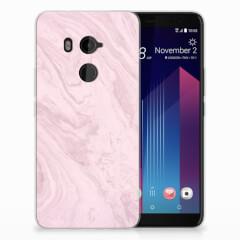 HTC U11 Plus TPU Siliconen Hoesje Marble Pink - Origineel Cadeau Vriendin