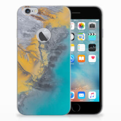 Apple iPhone 6 Plus | 6s Plus TPU Siliconen Hoesje Marble Blue Gold