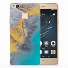 Huawei P9 Lite TPU Siliconen Hoesje Marble Blue Gold