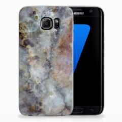 Samsung Galaxy S7 Edge TPU Siliconen Hoesje Marmer Grijs