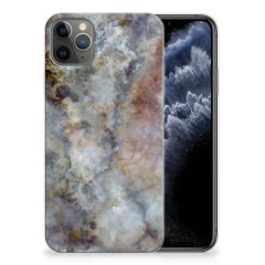 Apple iPhone 11 Pro Max TPU Siliconen Hoesje Marmer Grijs