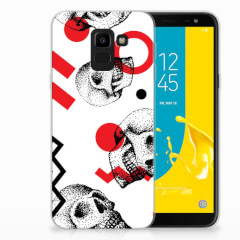 Silicone Back Case Samsung Galaxy J6 2018 Skull Red