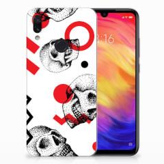 Silicone Back Case Xiaomi Redmi Note 7 Pro Skull Red