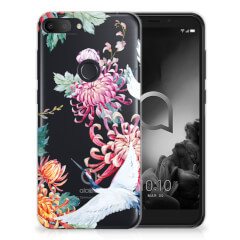 Alcatel 1S (2019) TPU Hoesje Bird Flowers