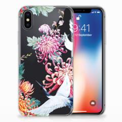 Apple iPhone X   Xs TPU Hoesje Bird Flowers